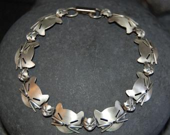 Beau Designer Stamped Sterling Silver Vintage Multi Kitty Faces Linked Bold Bracelet