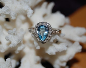 Blue Topaz Pear or Teardrop Bead Diamond Halo set Vintage Ring #BKC-RNG64