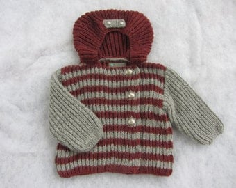 Hand knit pure alpaca baby coat with hood. Size 18-24 months.