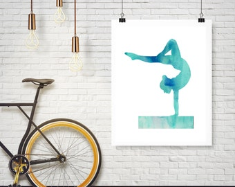 Blue Watercolor Gymnast Gymnastics on Beam Silhouette - Poster Wall Art Home Decor - Any color