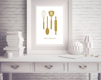 Instant Download - Kitchen Art Gold Glitter Whisk Spoon Spatula Rolling Pin - Poster Wall Art Card Home Decor Typography Word Quote