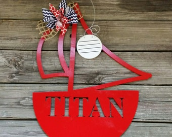 Sailboat Door Hanger - Personalized Boat Door Hanger - Nursery Wall Hanging - Hospital Door Hanger -  Custom Door Hanger For Baby