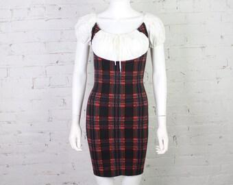 1980s Betsey Johnson Punk label Dress plaid peasant pirate mini bodycon L Large