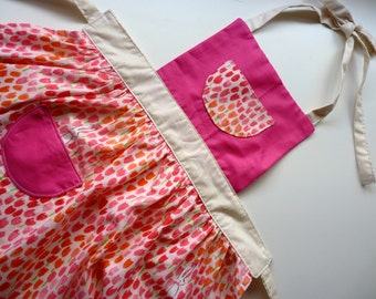 Girls Pink Tulip Apron for Cooking or Craft
