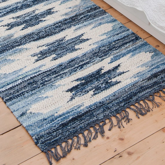 Blue And White Scandinavian Rug