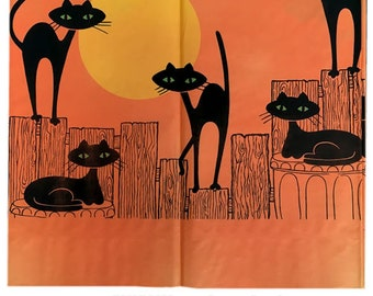Vintage Mid-Century Mod Halloween Party Black Cats Tablecloth