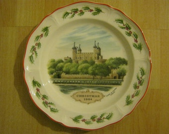 Wedgwood 'Tower of London' Christmas Plate 1984