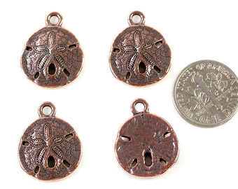 "4 Pieces~""Sand Dollar Shell"" ByTIERRACAST~ Antiqued Copper Plated Lead Free Pewter~4 Pieces"