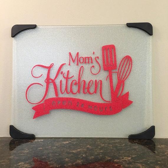 Mom's kitchen glass cutting board, Grandma chopping board, Nana personalized kitchen cutting board, Mom's kitchen open 24 hours board
