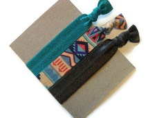 Aztec Hair Ties, Ribbon Ponytail Holders, birthday Party favors, Aztec Elastic, hair tie pack