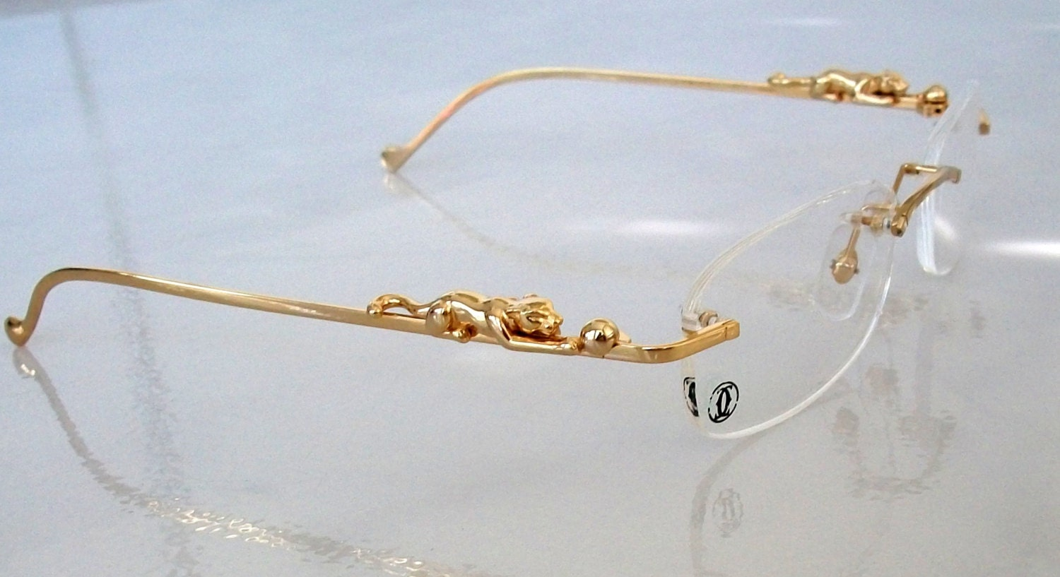 PANTHERE Eyeglass Frame Gold Plated Rimless Glasses Hand Made