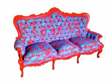 Banquette, canapé, sofa HAWAII -- baroque italien, restauré tissu 100% coton, 3 places, bleu turquoise / rouge par SophieLDesign