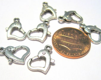 10pcs Antique Silver Heart Shape Lobster Claw Clasps 14mm