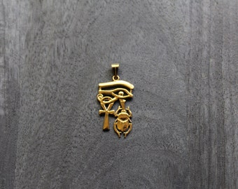 Gold Eye of Horus, Ankh and Scarab (18k gold)