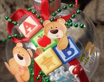 Teacher Christmas Ornament - Bears & Block Letters - School