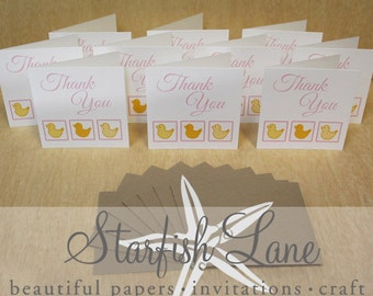 Duck Pink -  Thank You Card Pack/ 10 cards 99mmx99mm when folded & 10 Envelopes
