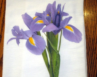 Flour Sack Kitchen Tea Towel Iris