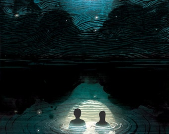 Night Swimming Lithograph Art Print by Adam Fisher