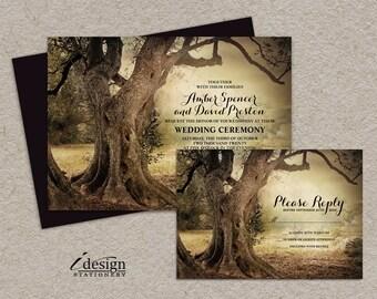 Rustic Woodland Wedding Invitation With Rsvp | Printable Three Themed Backyard Wedding Invitation Sets | Outdoor Wedding Invites
