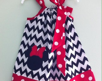 Custom Made Pillowcase Dress- Black Chevron With Minnie Mouse Head Machine Embroidered Applique And Red Polka Dot Hem and Ribbon-NB- 8 y/o