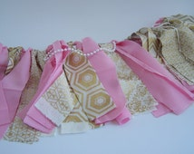 High Chair Bunting (Pink/ Pearls), High chair Banner, Garland, pink banner, pink garland, first birthday, fabric banner
