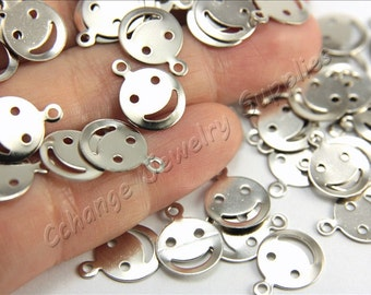 Smile Stamping Blanks, 50 pcs Brass Stamping Tags, (13mm x 10mm) Silver Tone Stamping Tags, Smile Stamping Tag Charms, Smile Brass Blanks