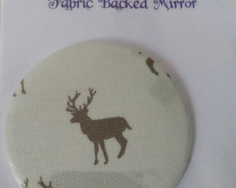Fabric Backed Pocket Mirror - Stag