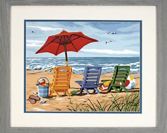 Beach Scene Painting KIT with Frame. Framed Beach Chairs Painting KIT.
