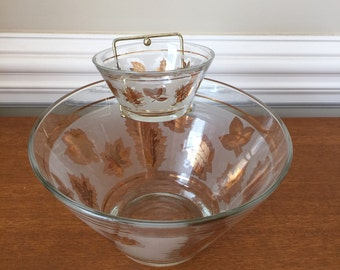 Vintage Mid Century Retro Gold Leaf Frosted Chip and Dip Glass Bowls