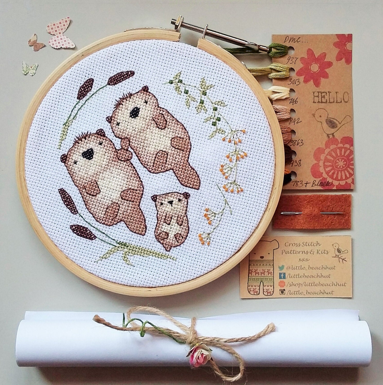Otter family embroidery kit cross stitch gift