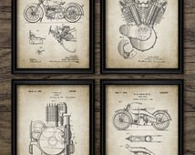 Vintage Harley Davidson Motorcycle Patent Set Of 4 Prints - Classic American Motorcycle Design - Set Of Four Prints #887 - INSTANT DOWNLOAD