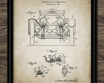 Vintage Car Headlight Patent Print - 1925 Automobile Headlight Design - Garage Mechanic Gift Idea - Single Print #1916 - INSTANT DOWNLOAD