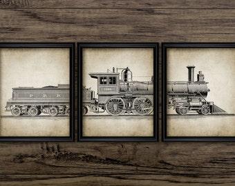Vintage Locomotive Triptych Print Set Of 3 - Steam Locomotive - American Railroad Design - Set Of Three Prints #571 - INSTANT DOWNLOAD