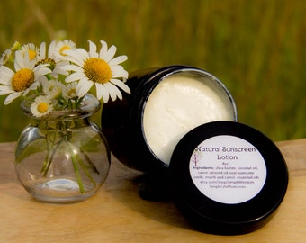 NATURAL SUNSCREEN LOTION - Organic, 100%natural, shea and coconut lotion carrot and myrrh essential oils, vegan, handmade, sunblock 4oz