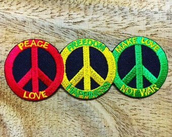 New Peace Love Freedom Happiness make love not war iron on patch.