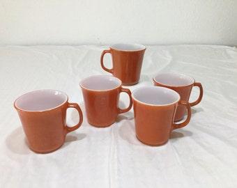 Pyrex Corning 5 Autumn Harvest Coffee Cups Mugs Halloween Milk Glass D-Handle Vintage