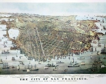 Panorama of the City of San Francisco in 1878 - Large Wall Art