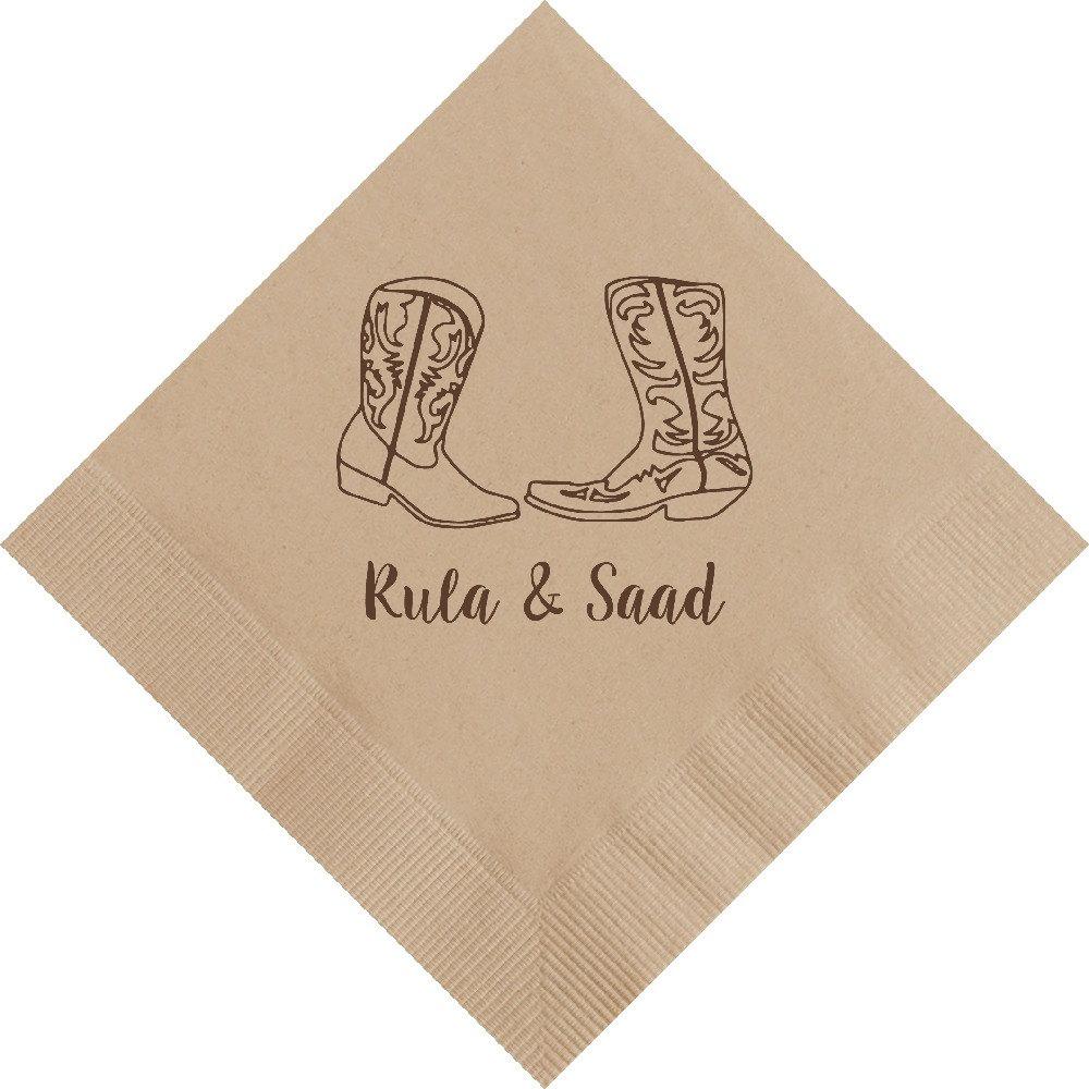 Rustic Wedding Napkins: Personalized Napkins Rustic Wedding Western Cowboy Custom