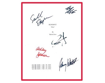 Blindspot TV Script Signed Jaimie Alexander, Sullivan Stapleton, Ashley Johnson, Johnny Whitworth, Michael Gaston