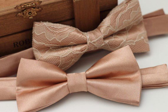 Rose Gold Tie Pre Tied Bow Tie Rose Gold Bow Tie Gold Bow