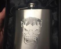 Incredible HULK face logo HIPFLASK Stainless Steel 6 oz hip flask marvel avengers