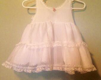 Baby Girl / Little Girl White Lace Dress Slip, Baptism Dress, VINTAGE Undergarment