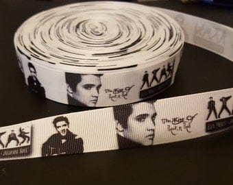 "Elvis ""The King""  printed grosgrain ribbon for hair bows, scrapbooking, other crafts - sold in 1, 3, or 5 yard lengths - M2007"