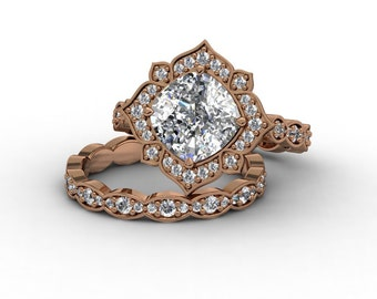 Rose Gold Wedding Ring SET 8mm Cushion Forever one Moissanite Center .33ct Natural Diamonds 18k Gold .19ct Diamond Wedding Band