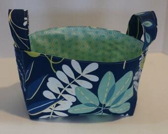 Fabric basket, blue basket, fabric bin, toy basket, nursery decor, diaper caddy, book basket, organizer, canvas storage basket