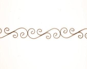 Small Iron S Scroll-Door Topper-Architectural Wall Garden-37x4-Wrought Iron-Handmade