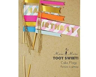 Meri Meri Happy Birthday Cake Toppers, Birthday Cake Decorations, Toot Sweet Cake Flags in Pink - Blue - Gold, Tall Cake Picks