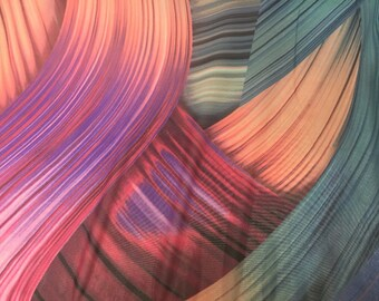 Purple multi color chiffon fabric- super soft chiffon print- sold by the yard.