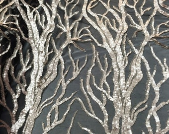 Matte champagne fashion tree design embroider with sequins on a 2 way stretch mesh -yard
