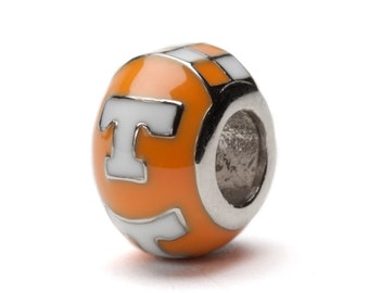Tennessee T Orange and White Bead Charm for Bracelet or Necklace - Fits Pandora